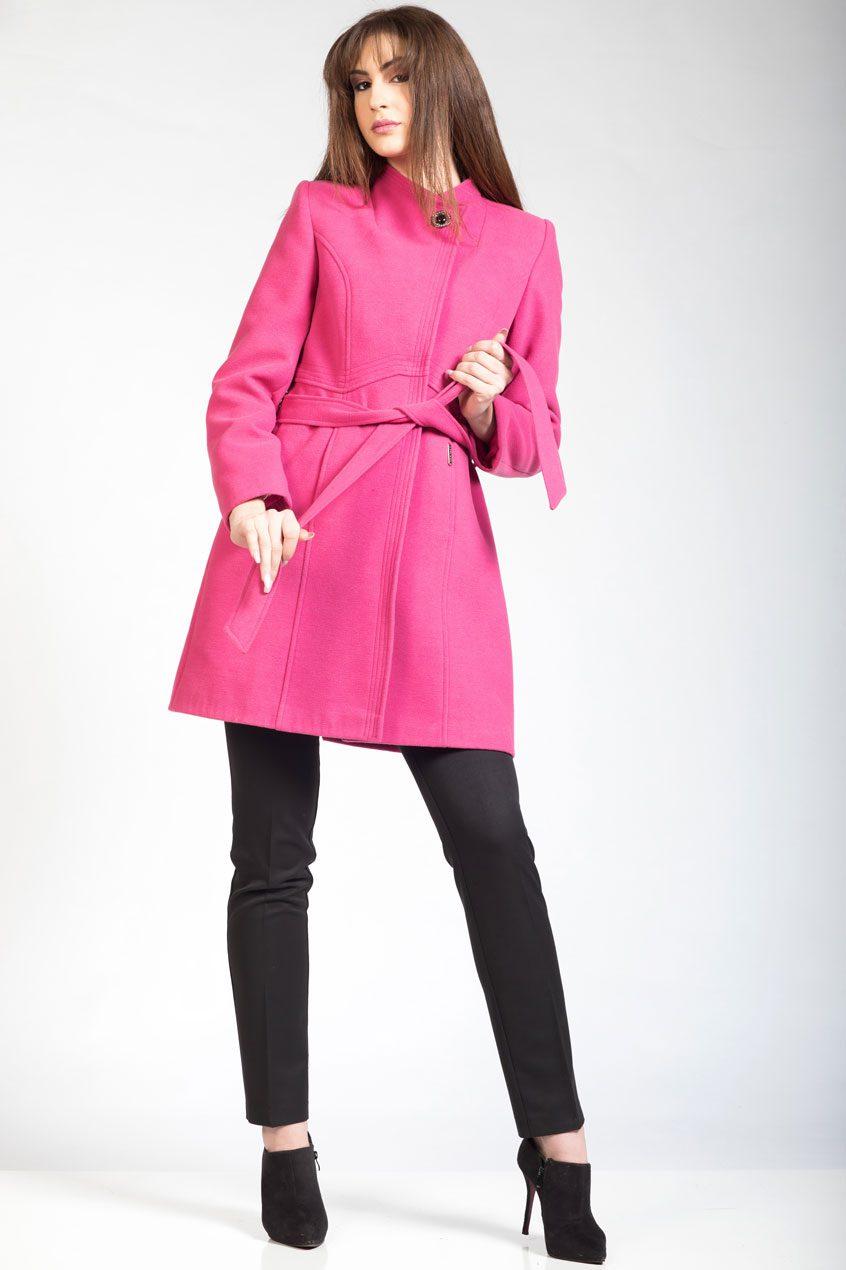 FENT Ροζ παλτοζακέτα βελούρ με σταυρωτό γιακά