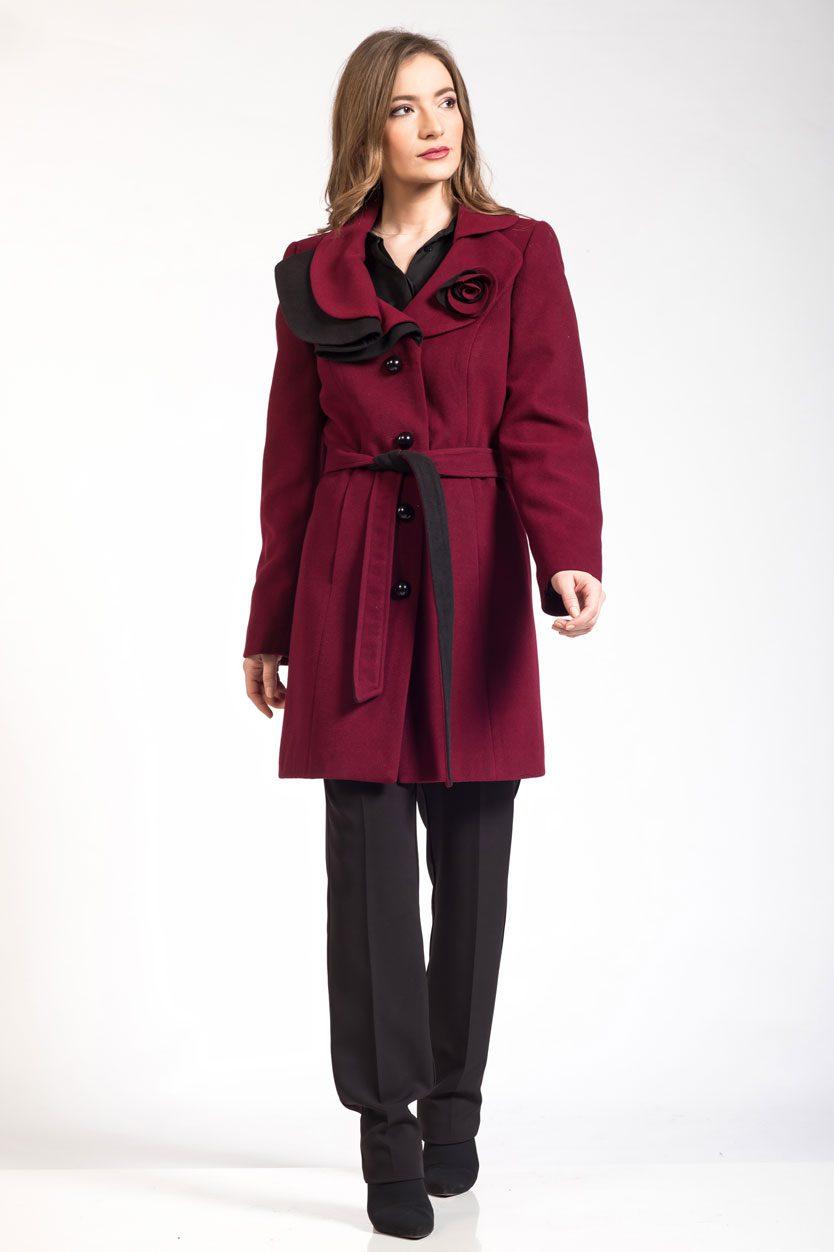 Γυναικεία παλτοζακέτα μαύρο/μπορντό