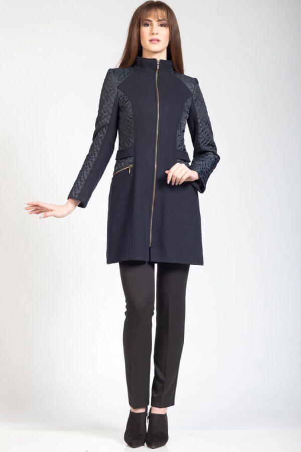 παλτό βελούρ/καπιτονέ με χρυσό φερμουάρ