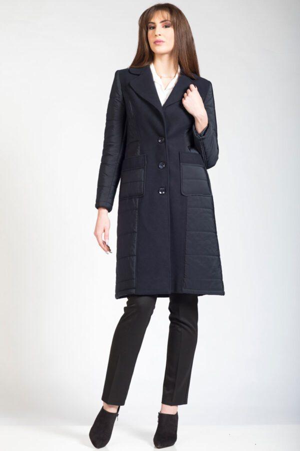 Γυναικείο παλτό μπλε καπιτονέ/βελούρ.