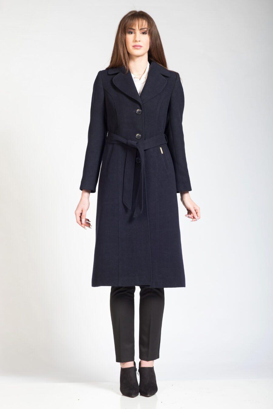 Γυναικείο μακρύ παλτό μπλε