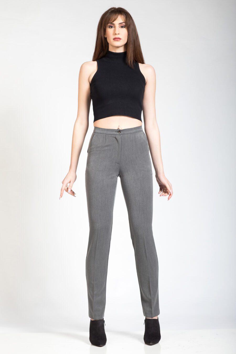 Γκρι γυναικείο παντελόνι με τσέπες