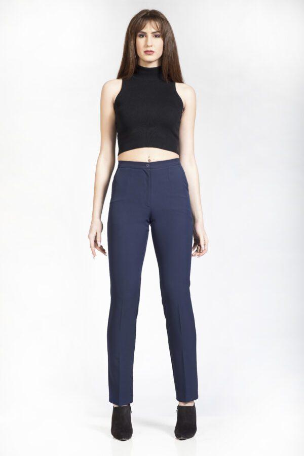 Γυναικείο μπλε παντελόνι εφαρμοστό