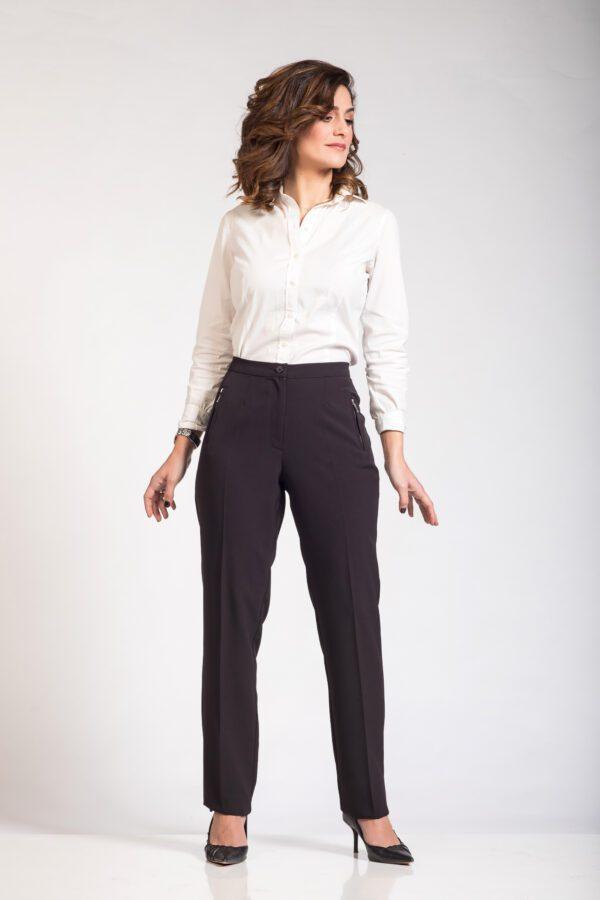 Μαύρο γυναικείο ψηλόμεσο παντελόνι