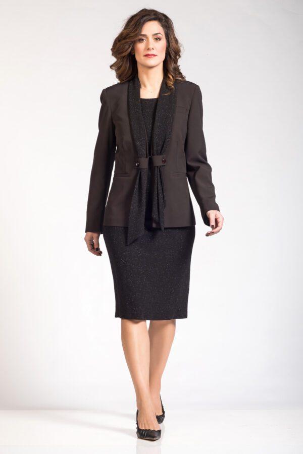 Γυναικείο σύνολο μπολερό φόρεμα μαύρο με κασκόλ