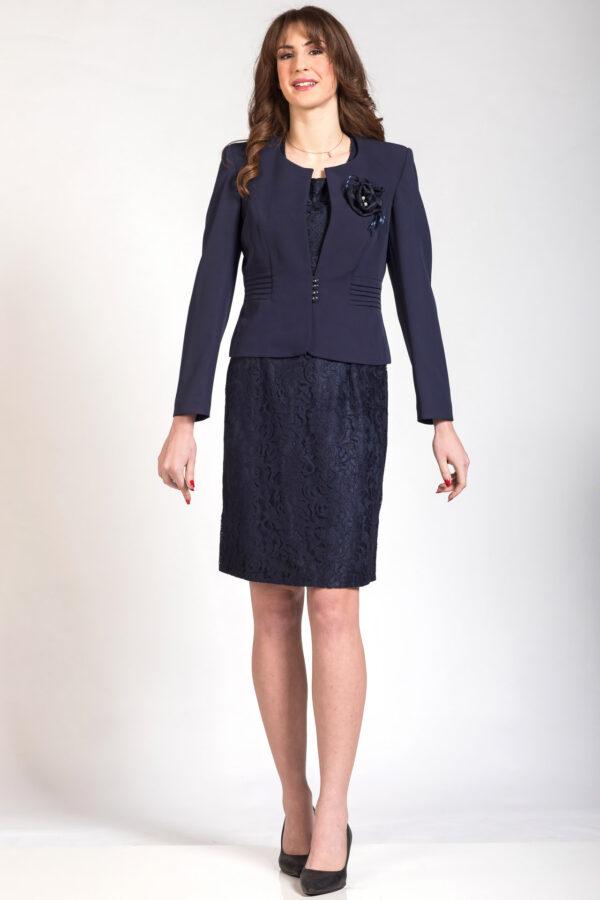 Γυναικείο χειμερινό μπλε μπολερό φόρεμα με δανδέλα